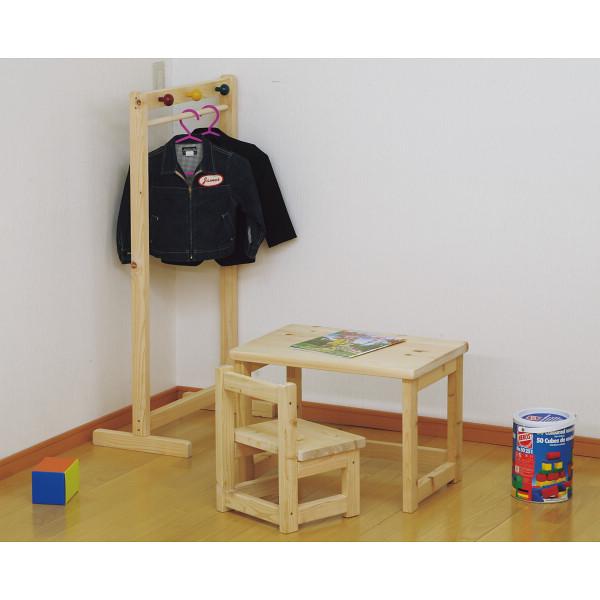 ひのきキッズ3点セット/HK-3P【送料無料】(キッズテーブル、デスク、木製机、キッズチェアー、イス、椅子、ハンガーラック)