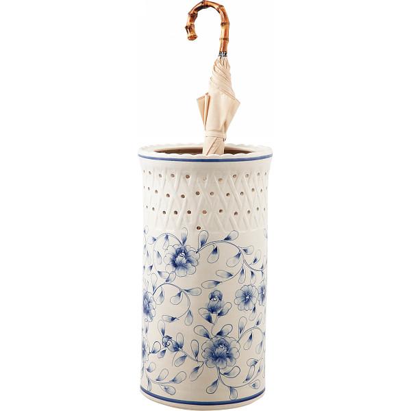 陶器傘立て白・青花柄U-10FB2/【送料無料】(アンブレラスタンド、傘立て、玄関収納)