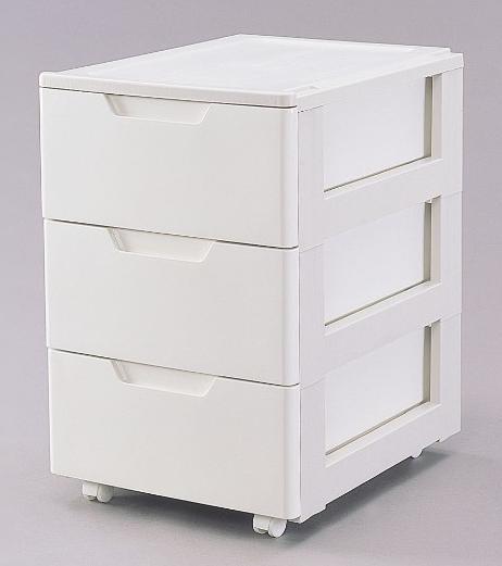 ロングチェスト ホワイト/ベージュ 3段 HG-443 【送料無料】(収納家具、チェスト、洋服タンス、キャビネット、衣類収納ボックス)