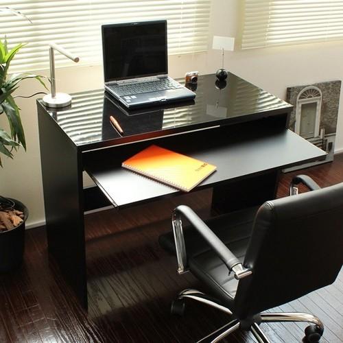 日本製 スライドテーブル付90cm幅鏡面ハイデスク ブラック (FM108N-BK) 【送料無料】(事務デスク、事務机、平机、PCデスク、パソコンデスク)