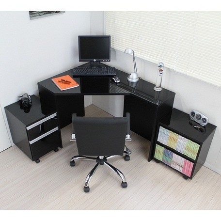 コーナーデスク 高級ブラック鏡面 ハイタイプ デスク3点セット ブラック FM144BK 【送料無料】(事務デスク、事務机、平机、PCデスク、パソコンデスク、本棚、書棚)