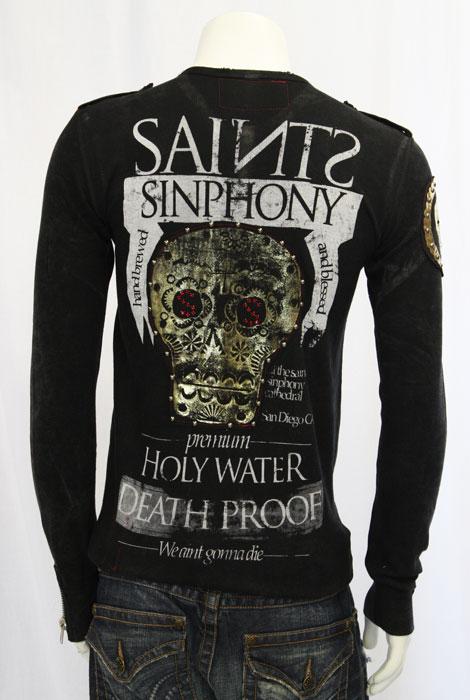 【THE SAINTS SINPHONY/セインツシンフォニー】GUNSLINGER・ヘンリーネックシャツ(長袖・ブラック・BLK)/メンズ【インポート】【セレカジ】【正規品】