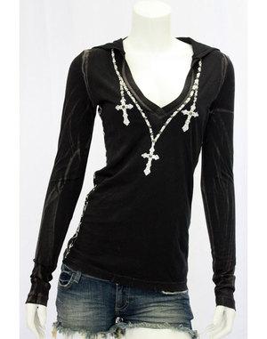 【THE SAINTS SINPHONY/セインツシンフォニー】DONT FUCK AROUND・フード付きTシャツ(長袖・ブラック・BLK)/レディース【インポート】【セレカジ】【正規品】
