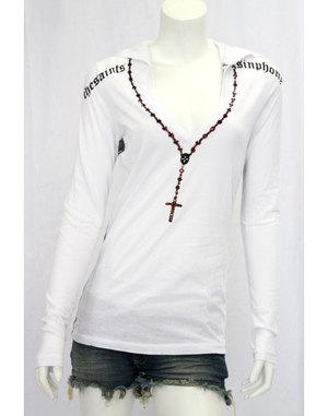【THE SAINTS SINPHONY/セインツシンフォニー】PERSONAL JESUS・フード付きTシャツ(長袖・ホワイト・WHT)/レディース【インポート】【セレカジ】【正規品】