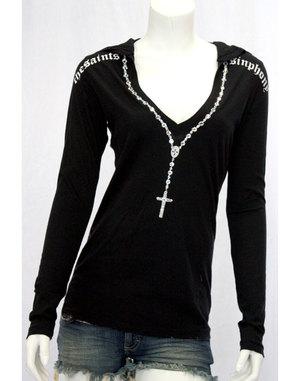 【THE SAINTS SINPHONY/セインツシンフォニー】MARY JANE・フード付きTシャツ(長袖・ブラック・BLK)/レディース【インポート】【セレカジ】【正規品】