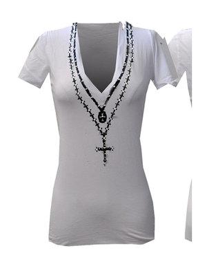 【THE SAINTS SINPHONY/セインツシンフォニー】BLACK DEATH VODKA・Tシャツ(半袖・Vネック・ホワイト・WHT)/レディース【インポート】【セレカジ】【正規品】