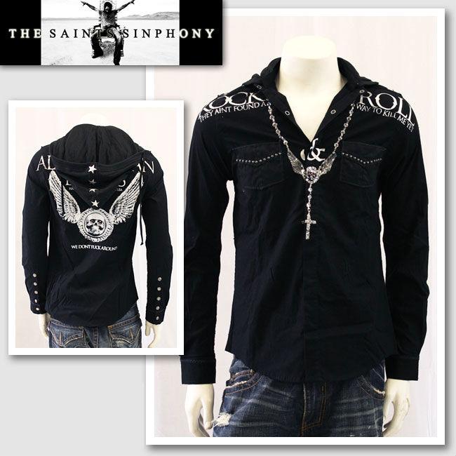 【THE SAINTS SINPHONY/セインツシンフォニー】KENNEDY・フード付きボタンアップシャツ(長袖・ブラック・BLK)/メンズ【インポート】【セレカジ】【正規品】