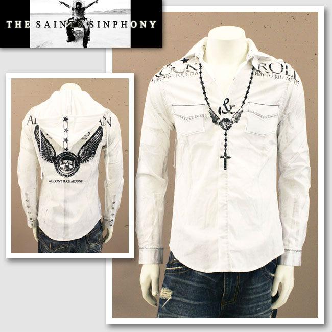 【THE SAINTS SINPHONY/セインツシンフォニー】NIXON・フード付きボタンアップシャツ(長袖・ホワイト・WHT)/メンズ【インポート】【セレカジ】【正規品】