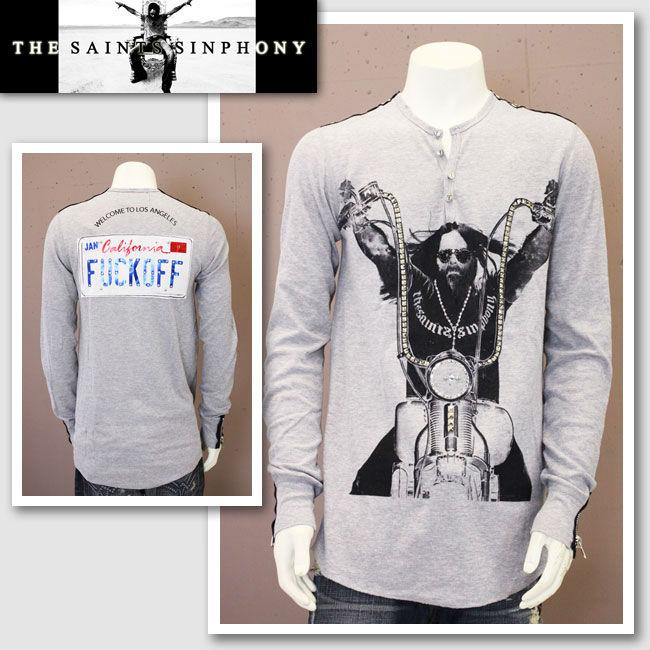 【THE SAINTS SINPHONY/セインツシンフォニー】MONKEY ON MY BACK・ヘンリーネックシャツ(長袖・グレー・GRY)/メンズ【インポート】【セレカジ】【正規品】