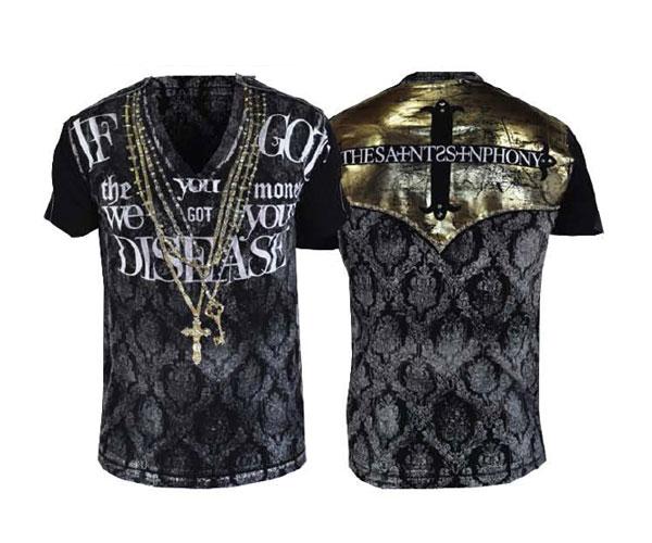 【THE SAINTS SINPHONY/セインツシンフォニー】CHINA CAT・Tシャツ(半袖・Vネック・ブラック・BLK)/メンズ【インポート】【セレカジ】【正規品】