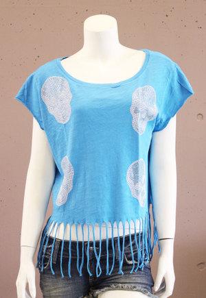 【e.vil/イーヴィル】フリンジストーンドルマンスカルTシャツ(ブルー・BLE)/レディース【インポート】【セレカジ】【正規品】