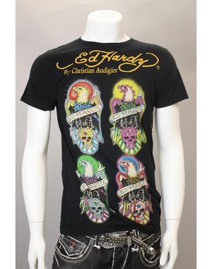 【ED HARDY/エドハーディ】 イーグル&スカルプリントTシャツ(ブラック・BLK)/メンズ 【インポート】【セレカジ】【正規品】