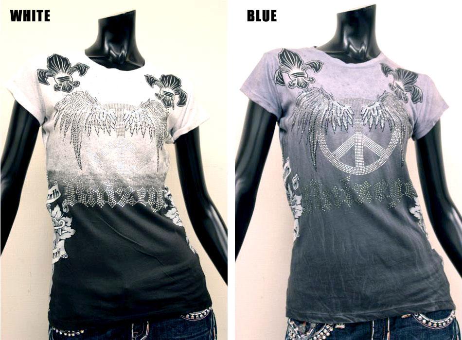 【BULZEYE/ブルズアイ】 PEACE WINGTシャツ(ホワイト/ブルー・WHT/BLE)/レディース【インポート】【セレカジ】【正規品】