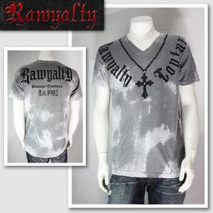 【RAWYALTY/ロウヤルティ】ネックレスモチーフTシャツ(グレー・GRY)/メンズ【インポート】【セレカジ】【正規品】