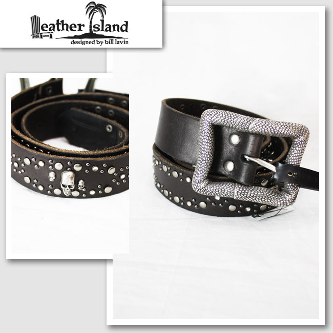 【Leather Island/レザーアイランド】スカルスタッズレザーベルト(ブラック・BLK)【インポート】【セレカジ】【正規品】