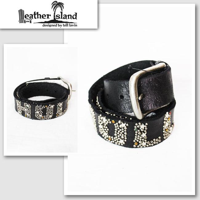 【Leather Island/レザーアイランド】ハリウッドスタッズレザーベルト(ブラック・BLK)【インポート】【セレカジ】【正規品】