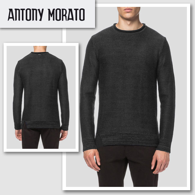 新作【ANTONY MORATO/アントニ—モラート】SWEATER ROUND COLLAR ニット(ブラック・BLK)/メンズ【インポート】【セレカジ】【正規品】