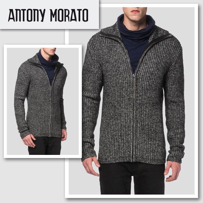 新作【ANTONY MORATO/アントニ―モラート】CARDIGAN WITH ZIP ニットジップカーディガン(グレー・GRN)/メンズ【インポート】【セレカジ】【正規品】