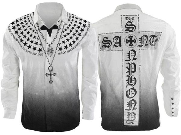 新作【THE SAINTS SINPHONY/セインツシンフォニー】WHITE LINE FEVER・ボタンアップシャツ(長袖・ホワイト・WHT)/メンズ【インポート】【セレカジ】【正規品】