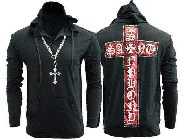 新作【THE SAINTS SINPHONY/セインツシンフォニー】ELECTRIC RED・フードTシャツ(長袖・ブラック・BLK)/メンズ【インポート】【セレカジ】【正規品】