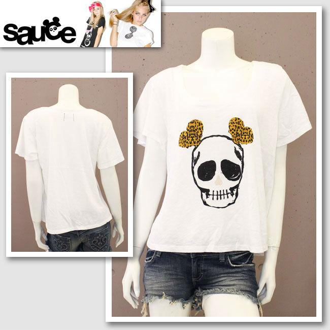 【Sauce/ソース】スカルハートイヤーズTシャツ(ホワイト・WHT)/レディース【インポート】【セレカジ】【正規品】