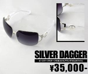 【SILVER DAGGER/シルバーダガー】ピースマークモチーフ付きスクエアサングラス(ホワイト・WHT)【インポート】【セレカジ】【正規品】