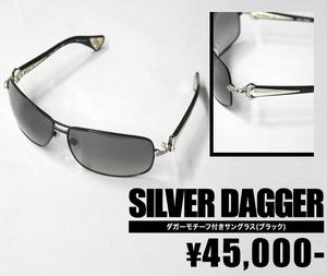 【SILVER DAGGER/シルバーダガー】ダガーモチーフ付きツーブリッジサングラス(ブラック・BLK)【インポート】【セレカジ】【正規品】