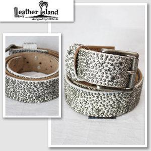 【Leather Island/レザーアイランド】シルバーストーンレザーベルト(ホワイト・WHT)【インポート】【セレカジ】【正規品】