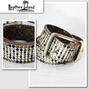 【Leather Island/レザーアイランド】3カラーストーンベルト(ホワイト・WHT)【インポート】【セレカジ】【正規品】