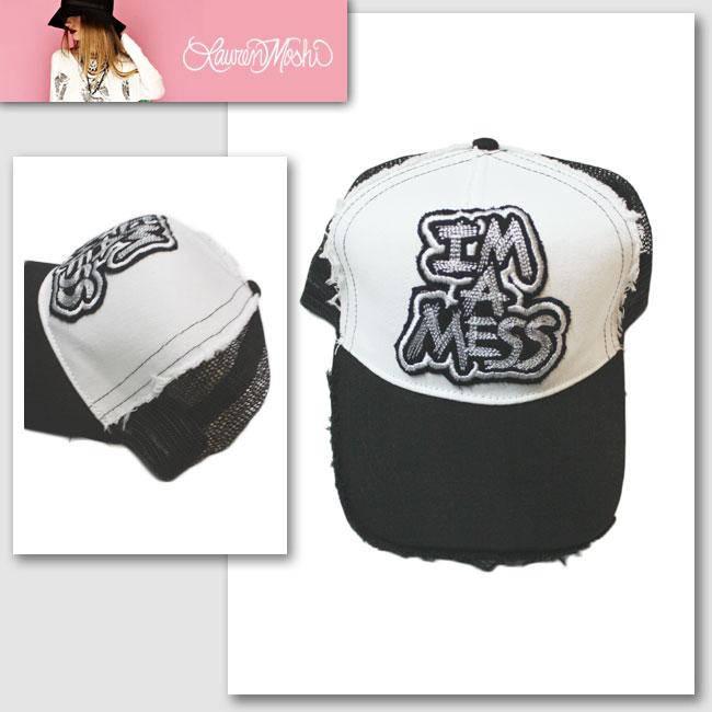 【Lauren Moshi/ローレン・モシ】JILLY-CANVAS TRUCKER HAT-I'M A MESS PATCH(ホワイト×ブラック・WHT×BLK)/メンズ レディース【インポート】【セレカジ】【正規品】