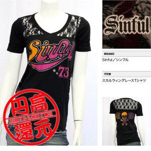 【SINFUL/シンフル】スカルウィングレースTシャツ(ブラック・BLK)/レディース【インポート】【セレカジ】【正規品】