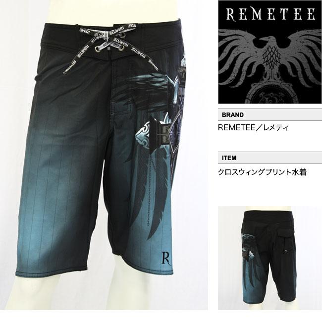 【REMETEE/レメティ 】クロスウィングプリント水着(ブラック・BLK)/メンズ【インポート】【セレカジ】【正規品】