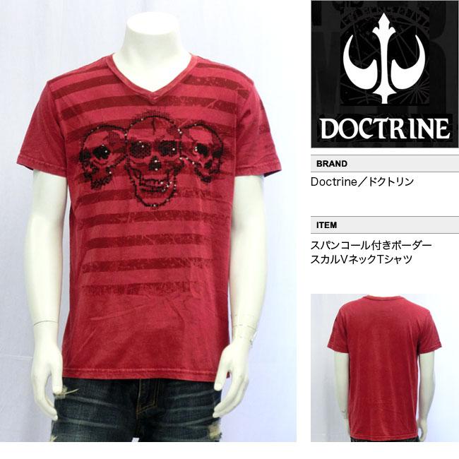 【DOCTRINE/ドクトリン】スパンコール付きボーダースカルVネックTシャツ(レッド・RED)/メンズ【インポート】【セレカジ】【正規品】