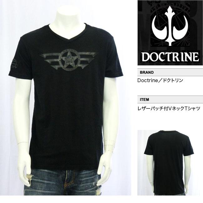 【DOCTRINE/ドクトリン】レザーパッチVネックTシャツ(ブラック・BLK)/メンズ【インポート】【セレカジ】【正規品】