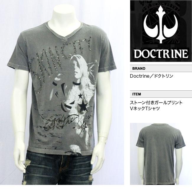 【DOCTRINE/ドクトリン】ストーン付きガールプリントVネックTシャツ(グレー・GRY)/メンズ【インポート】【セレカジ】【正規品】