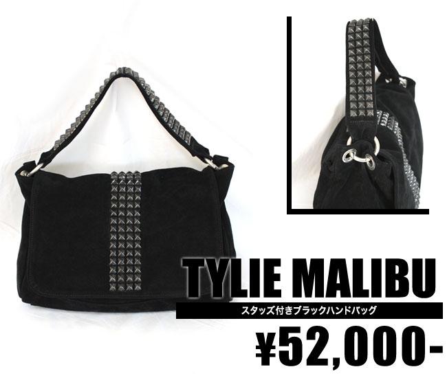 【TYLIE MALIBU/タイリーマリブ】スタッズ付きブラックハンドバッグ (ブラック・BLK)【インポート】【セレカジ】【正規品】