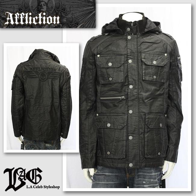 【AFFLICTION/アフリクション】フード付きジップジャケット(ブラック・BLK)/メンズ【インポート】【セレカジ】【正規品】