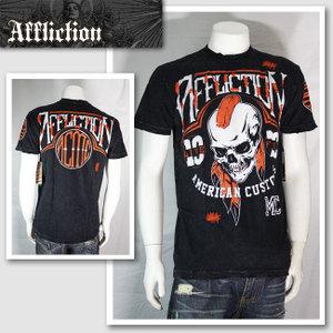 【AFFLICTION/アフリクション】モヒカンスカルTシャツ(ブラック・BLK)/メンズ【インポート】【セレカジ】【正規品】