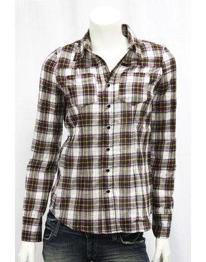 【AFFLICTION/アフリクション】ウェスタン調チェックシャツ(ホワイト×ブラック・WHT×BLK)/レディース【インポート】【セレカジ】【正規品】