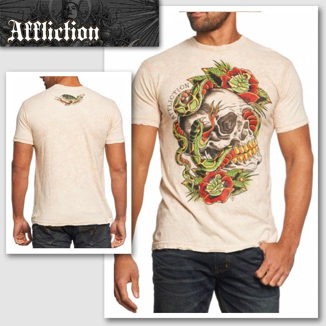 新作 LAセレブ着用 雑誌掲載【AFFLICTION/アフリクション】MATT KERLEYシャツ(ベージュ・BEG)/メンズ【インポート】【セレカジ】【正規品】