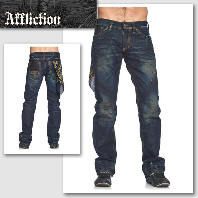 【AFFLICTION/アフリクション】ACE AVENGE KNOXVILLE スカーフ付きデニムパンツ(ブルー・BLE)/メンズ【インポート】【セレカジ】【正規品】