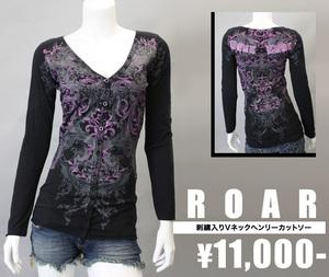 【ROAR/ロアー】 刺繍入りVネックヘンリーカットソー(ブラック・BLK)/レディース【インポート】【セレカジ】【正規品】