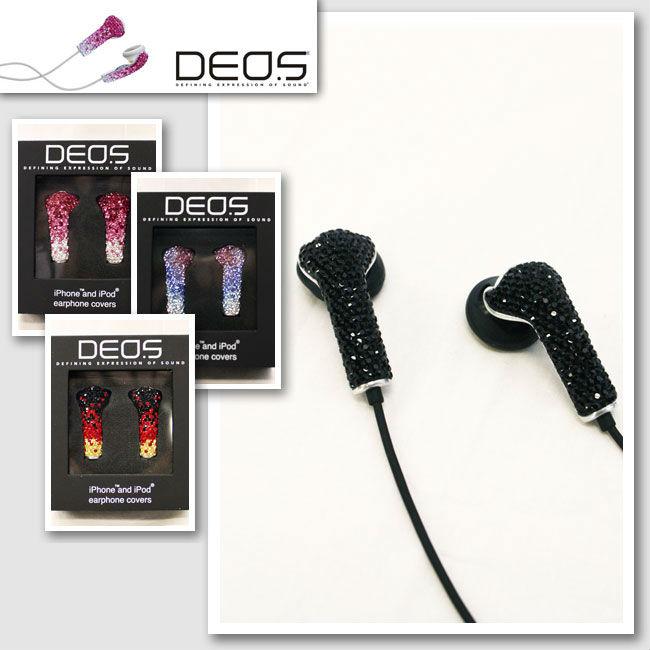 【DEOS/デオス】クリスタルイヤホンカバー(ブラック)【インポート】【セレカジ】【正規品】