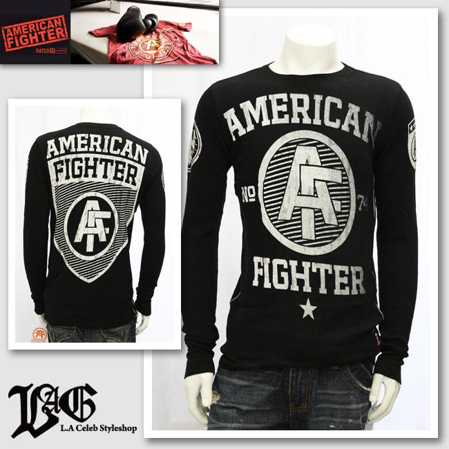 【AMERICAN FIGHTER/アメリカンファイター】アメリカンロゴブラックロングTシャツ(ブラック・BLK)/メンズ【インポート】【セレカジ】【正規品】