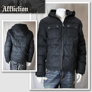 【AFFLICTION/アフリクション】スカルワッペン付きウールジャケット(グレー・GRY)/メンズ【インポート】【セレカジ】【正規品】