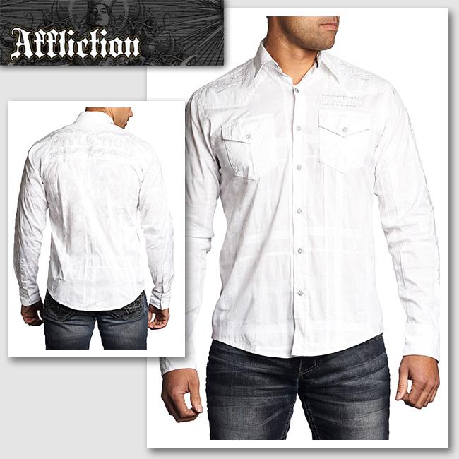 新作【AFFLICTION/アフリクション】TWISTED SKY ロゴ刺繍チェックシャツ(ホワイト・WHT)メンズ【送料無料】シンプルなホワイトシャツにさりげないチェックが◎ 同系色のホワイトでロゴ刺繍も入っています!【セレカジ】【正規品】