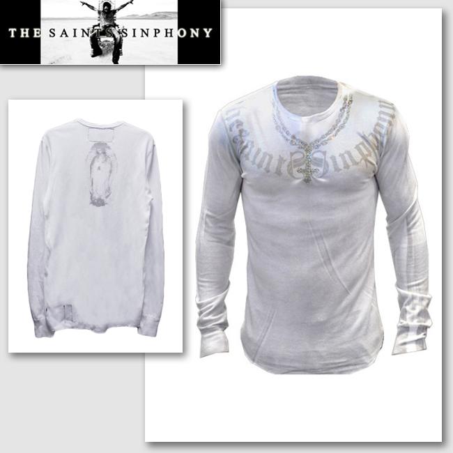 送料無料 LA直輸入 大人気セレブブランド THE 直営店 SAINTS SINPHONY セインツシンフォニー BLOW セレカジ ホワイト メンズ 売り込み WHT 正規品 インポート Tシャツ 長袖