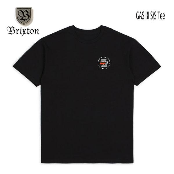 ネコポス 日時指定 代引不可 注文後の変更キャンセル返品 アメリカ発のHAT APPARELブランド BRIXTON 多くのスケーター ミュージシャン セレブ達に愛されているブランド 最新号掲載アイテム ブリクストン 20SP 半袖Tシャツ GAS ブラック S メンズ M BLACK ロゴ Fit Standard USサイズ Lサイズ TEE III