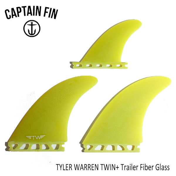 あす楽 今話題のCAPTAIN FIN キャプテンフィン タイラーウォーレン シグネイチャーモデル CAPTAIN TWIN+1 ツインフィン+1 シグネイチャー TYLER WARREN サーフィン 対応 使い勝手の良い TWIN+ サーフボード FUTURESタイプ Trailer 購買 CFF2412001 TAB ファイバーグラス FG YELLOW SINGLE