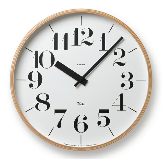 壁掛時計 Lemnos レムノス WR-0401L RIKI CLOCK L ナチュラル / 掛け時計 新築祝い 引越し祝い タカタレムノス KO-3【送料無料・あす楽対応】
